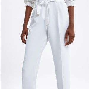 NWT Zara Belted Pants White XL